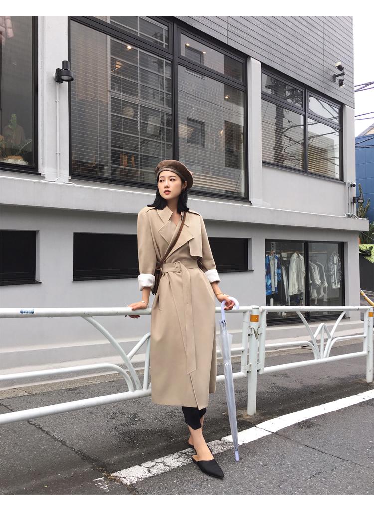 Spring Autumn Maxi Long Women's Loose Trench Coat With Belt Khaki & Black Plus Size Korean Style Windbreaker Outwear 16