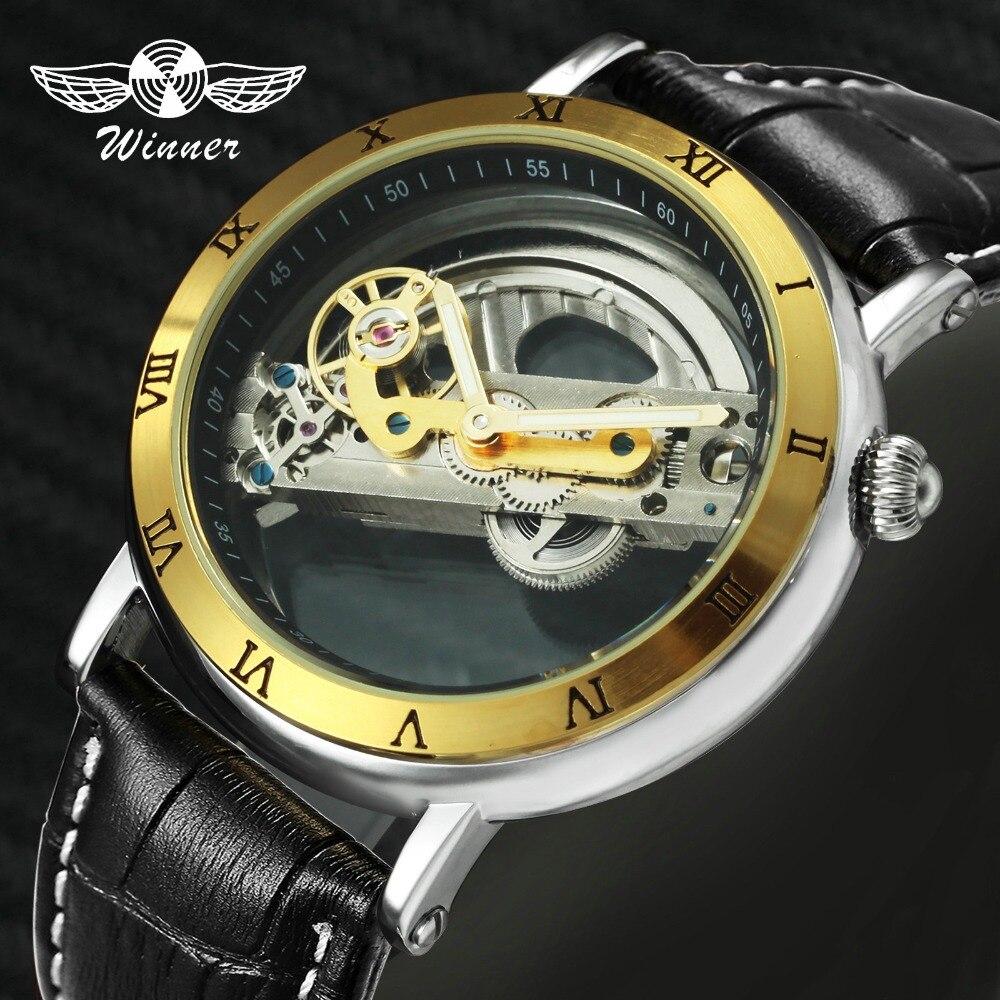 Montre homme de luxe pont d'or 2018 WINNER montre mécanique automatique bracelet en cuir véritable Transparent montre-bracelet lumineux