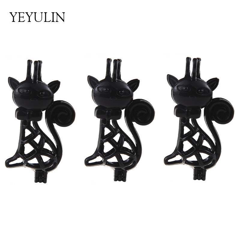 5pcs Copper Material Cute Grace Cat Beads Cage Jewelry Making Supplies Female Essential Oil Diffuser Necklace & Pendant Jewelry