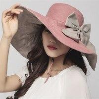 Beckyruiwu 19 سنتيمتر الكبير بريم bowknot شاطئ قبعة سيدة الصيف طوي 100% القطن دلو القبعات قبعة فتاة جميلة أشعة الشمس