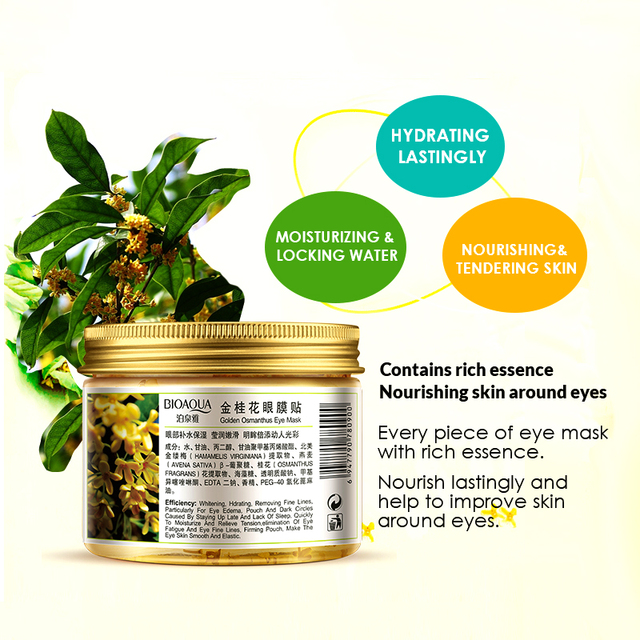 80 pcs/ bottle BIOAQUA Gold Osmanthus eye mask women Collagen gel whey protein face care sleep patches health mascaras de dormir 3