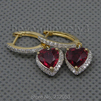 Jewelry Sets Vintage Heart 7mm 14Kt White Gold Diamond Natural Engagement Wedding Blood Red Ruby Earrings