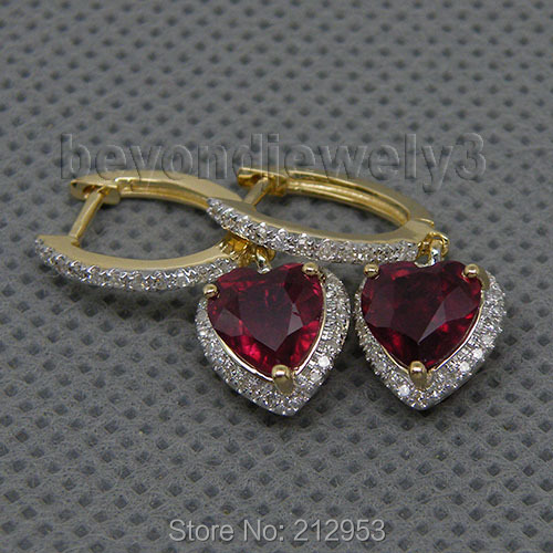 Fashion Vintage Heart 6mm Ruby Earring 14Kt Yellow Gold Natural Engagement Wedding Red Ruby Earrings