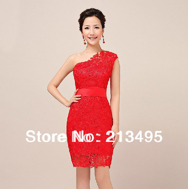 d2a39f37bffa vestidos de fiesta classy one shoulder red semi formal short tight prom  dresses lace gorgeous sheath column dress 720