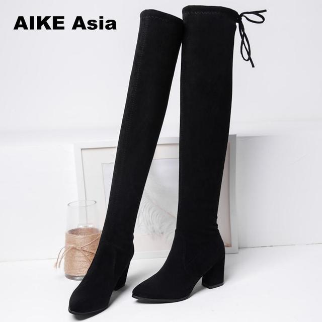 55d3863ce22 New Square High Heels Slim Female Over The Knee Boots Women Motorcycle Boot  Plus Size Women s