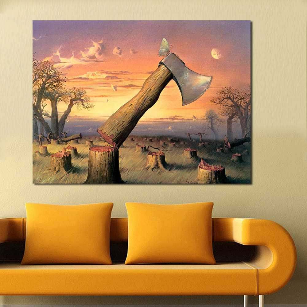 Living room oil paintings - Wang Art Surreal Axes Wall Pictures For Living Room Canvas Art Home Decor Modern No Frame Oil Painting