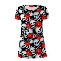 NoisyDesigns Punk Style Women Summer Dress Skull Prints Woman Casual Dresses For Lady Sexy Beach Dresses Girls Vestidos Mujer