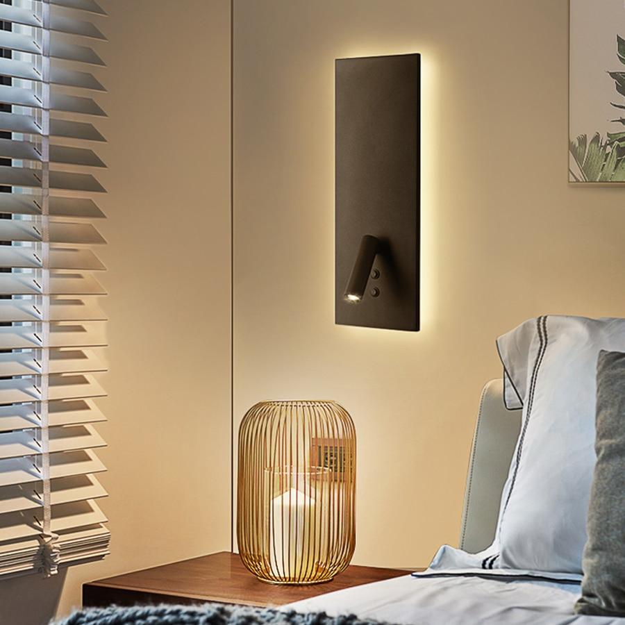 Thrisdar 15 W + 3 W lampe de chevet en fer nordique avec interrupteur allée carrée lampe de mur LED d'hôtel avec Spot de lecture Flexible