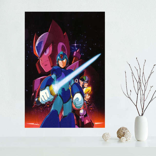 Custom megaman Canvas Painting Poster Cloth Silk Fabric Wall Art Poster for Living Room Home Decor 5