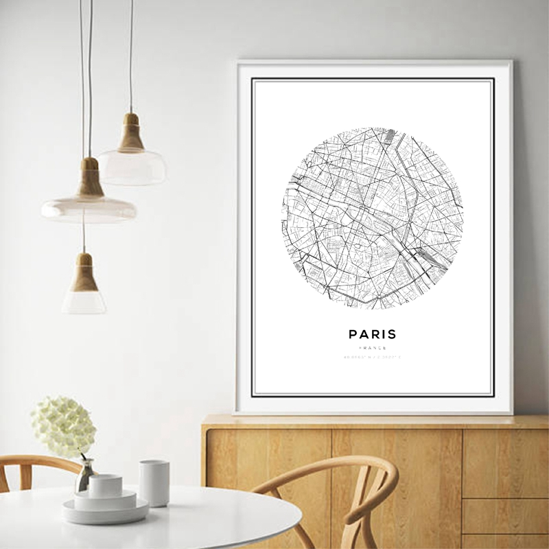 New York City Picture Canvas Painting Modern Wall Art: Black White Map World City Canvas Art Painting Poster