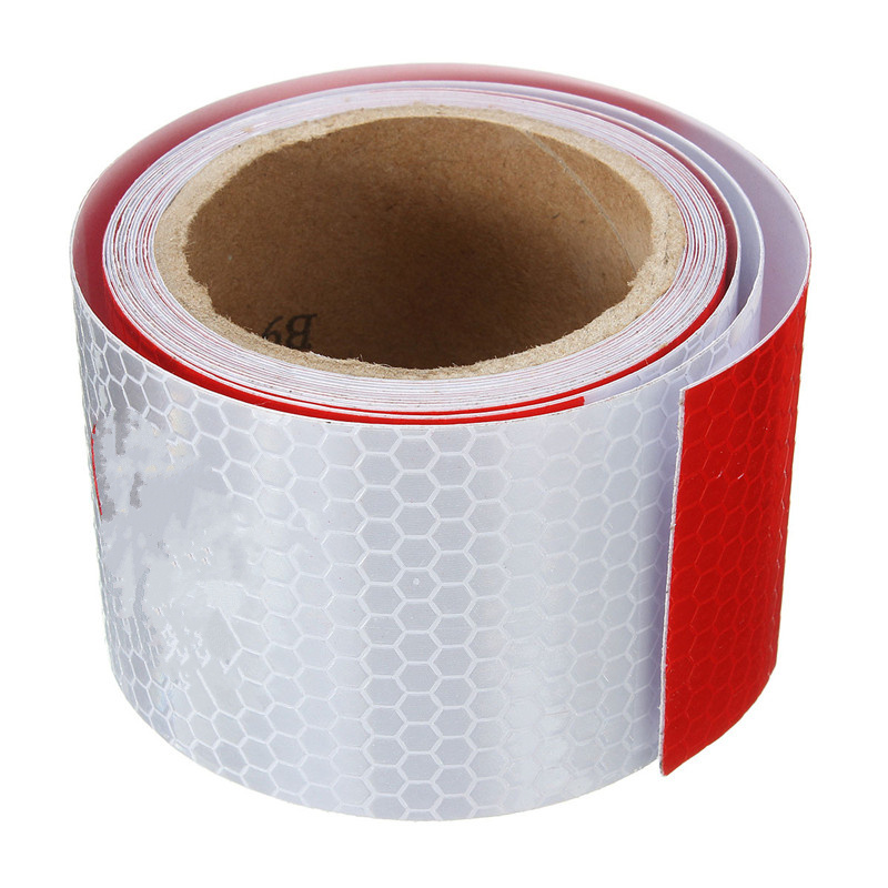 New 2X10' 3 Meters Reflective Safety Warning Conspicuity Tape Film Sticker White Red High Quality