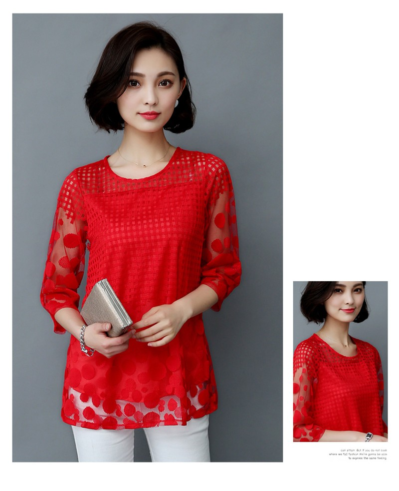 HTB1s4CbOXXXXXXIXFXXq6xXFXXX9 - 5XL Women Fashion Elegant Lace Blouse Shirt Chiffon 3/4 Sleeve