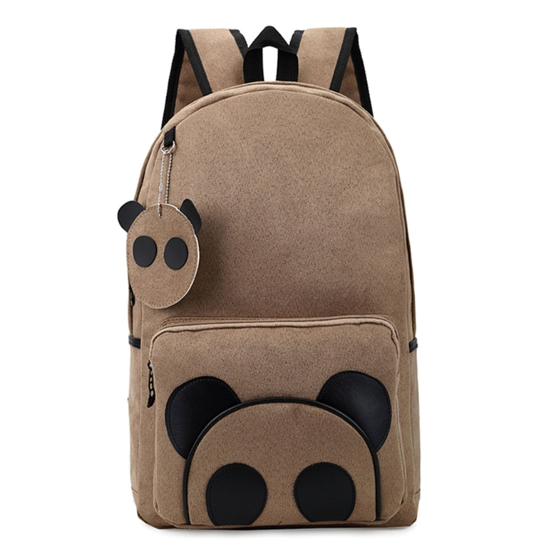Fashion Younger Backpack Panda Pattern School Bag Boy Girl Backpack Cartoon Style Brown Color
