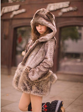 2015  Faux Hooded Thick Outerwear Ear Hair Ball Cute Overcoat Female Winter Warm Faux Fur Coats For Women Ladies Coat