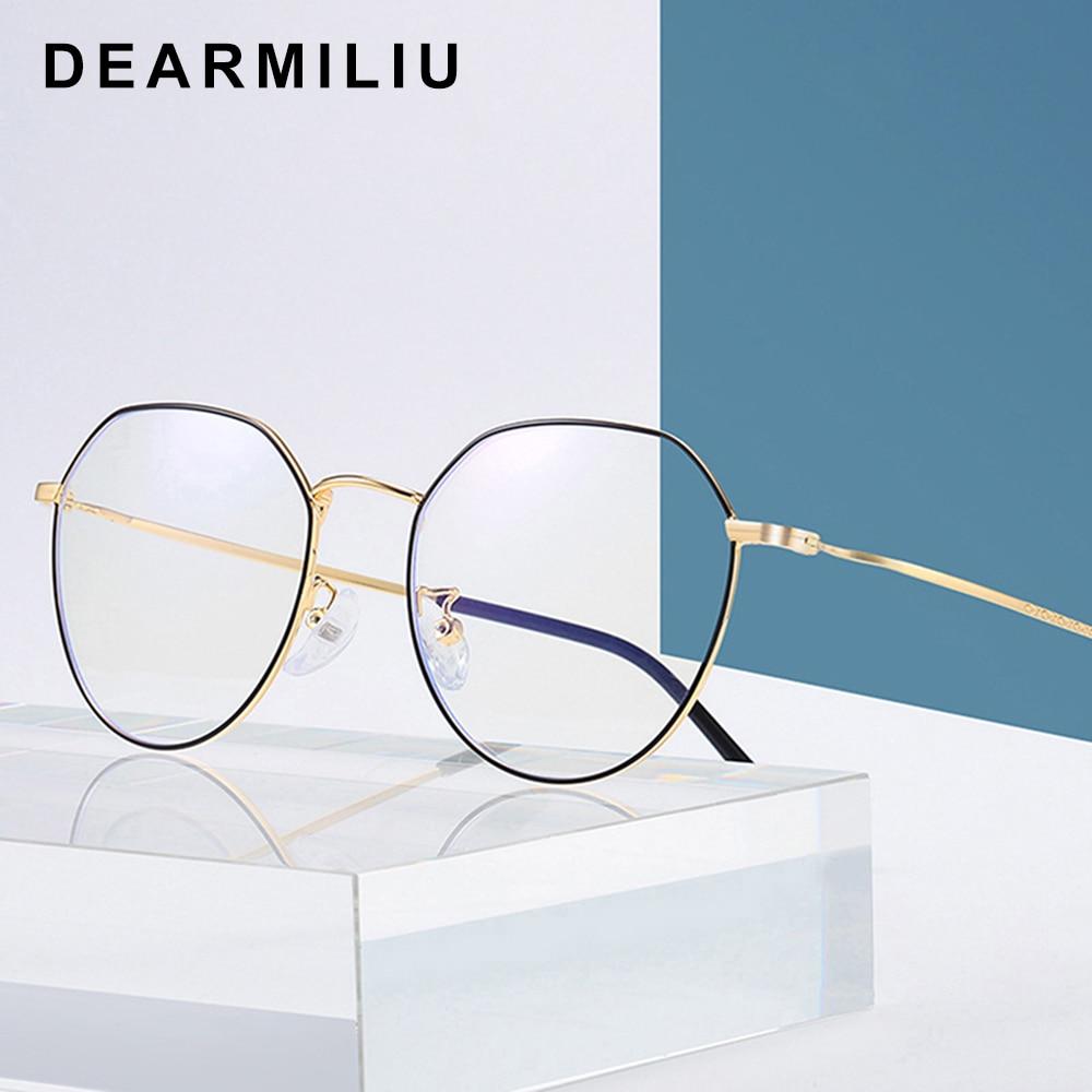 Beautiful Dearmiliu Round Rose Gold Frame Anti Blue Light Blocking Glasses Led Reading Radiation-resistant Glasses Computer Gaming Eyewear