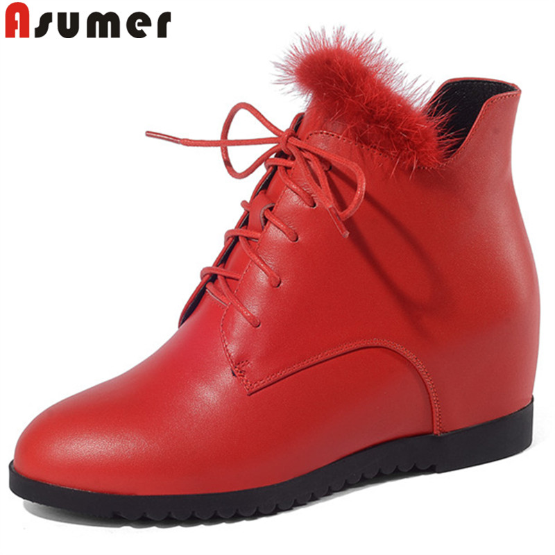 ASUMER black red fashion autumn winter boots round toe lace up ankle boots for women height increasing genuine leather boots цены онлайн
