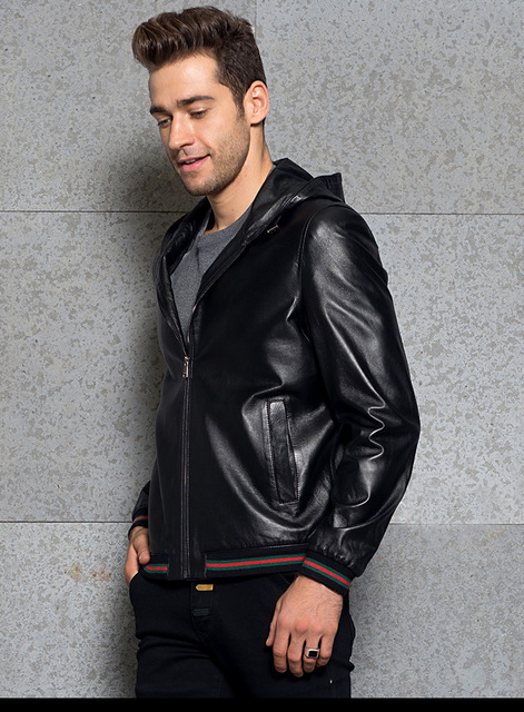 Men's Leather Jacket Sheepskin Hooded Motorcycle Jacket Bring Your Custom Handmade  Increase size Plus S-8XL