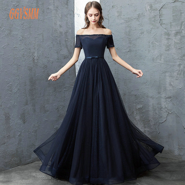eab1ba9d Sexy Dark Navy Evening Gowns 2018 Evening Dresses Long Boat-Neck Tulle  Beading Lace Up Beach Women Party Dress Prom Custom Made