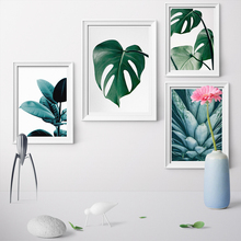 купить Unframed Nordic Style Green Plants Leaf Posters And Prints Cactus Wall Art Canvas Painting Canvas Prints for Home Decoration по цене 349.1 рублей