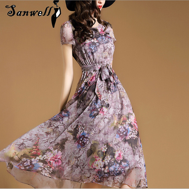 0fb2ad3e7b Women Flower Print Short Sleeve Ladies Knee Length Chiffon Dress White  Casual Summer Dresses Plus Size Women Clothing H028