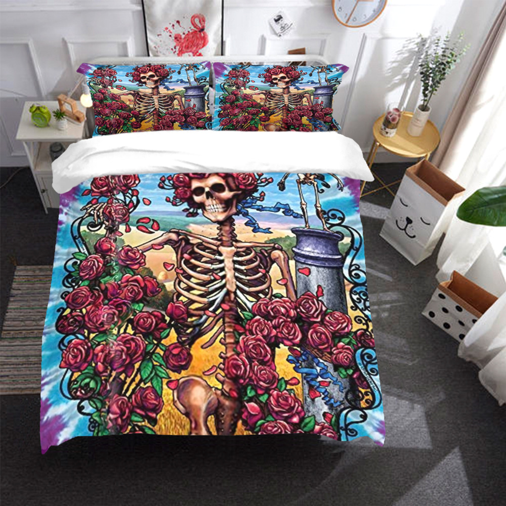 Gothic Flower Skull bed linen set Bedding Set Duvet/Quilt Cover Pillowcases USA Twin Full Queen King Size soft and comfortable Gothic Flower Skull bed linen set Bedding Set Duvet/Quilt Cover Pillowcases USA Twin Full Queen King Size soft and comfortable