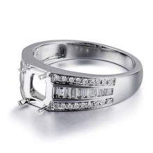 Fine Jewelry 14K White Gold Diamond Wedding Set Rings Emerald Cut 5x7mm For Women SR047