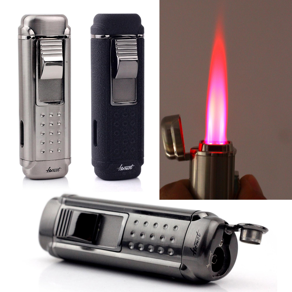 Firedog Cigarette Accessories Metal Gas Lighter Black Butane Windproof Lighter Torch Jet...
