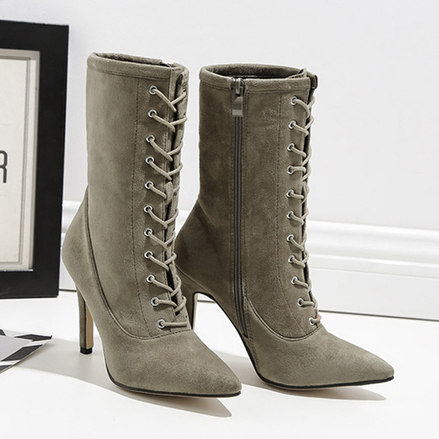 0a00e97ab81e Lace up Cross-tie Mid-Calf Sock Boots Women Thin High Heel Boots Women