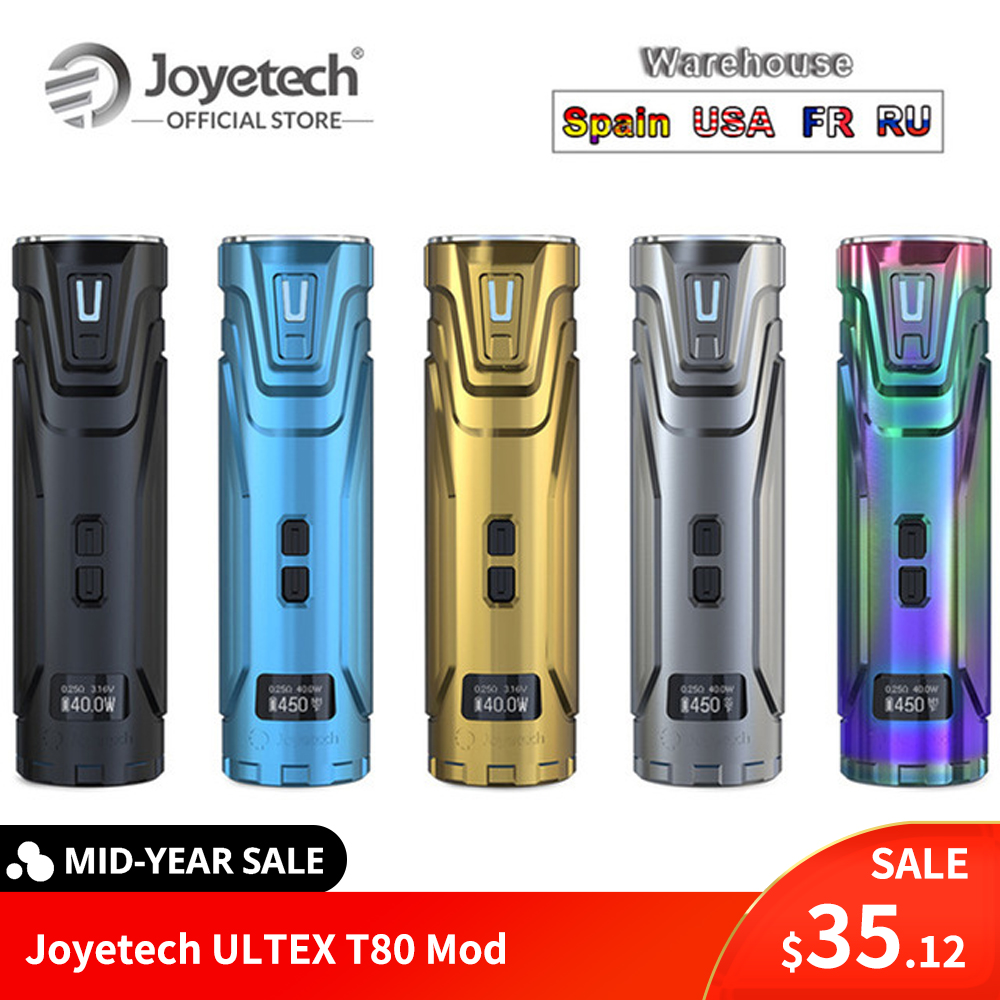 FR/US Warehouse Original Joyetech ULTEX T80 Mod Output 80W POWER/BYPASS/TEMP(NI/TI/SS)/TCR Mode Electronic CigaretteFR/US Warehouse Original Joyetech ULTEX T80 Mod Output 80W POWER/BYPASS/TEMP(NI/TI/SS)/TCR Mode Electronic Cigarette