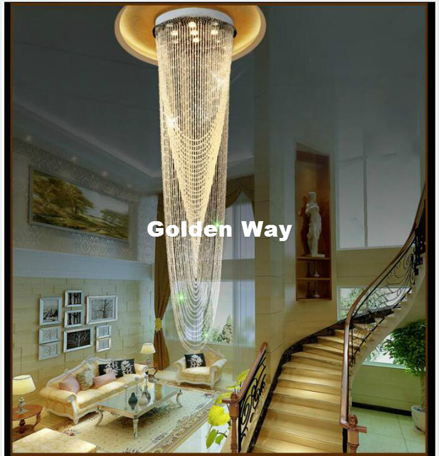 Free Shipping Modern LED Crystal Ceiling Light Fixture Long Crystal Stair  Lamp Flush Mounted Crystal Light