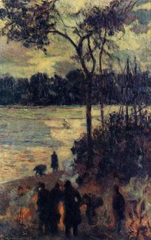 High quality Oil painting Canvas Reproductions Fire by the water (1886)  by Paul Gauguin hand painted