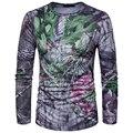 Tático militar camuflagem t camisa dos homens de manga comprida t-shirt o pescoço impressão top tees camuflagem moda design clothing