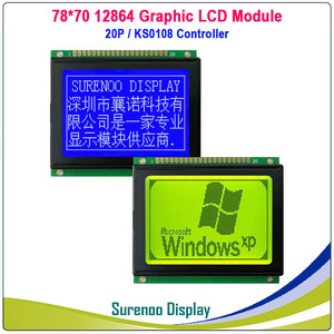 78X70MM 12864 Graphic Matrix LCD Module Display Screen build-in KS0108 Controller Yellow Green Blue LCD with LED Backlight