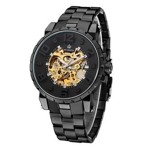 Image 3 - MG. ORKINA Men Wristwatch Golden Skeleton Clock Mechanical Male Wrist Watch Black Relogio Masculino Automatic Zegarek Meski