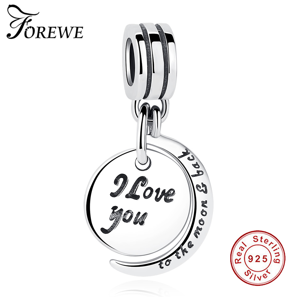 Fit Authentic Original Pandora Charms Sterling Silver 925 I Love you to the moon&back Round Beads DIY Bracelet Necklace Jewelry