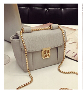 2017 fashion lockbutton chain mini bag shoulder messenger bag  women's small  vintage handbag black/gray/red color mini gray shaggy deer pvc quilted chain bag with cover real picture