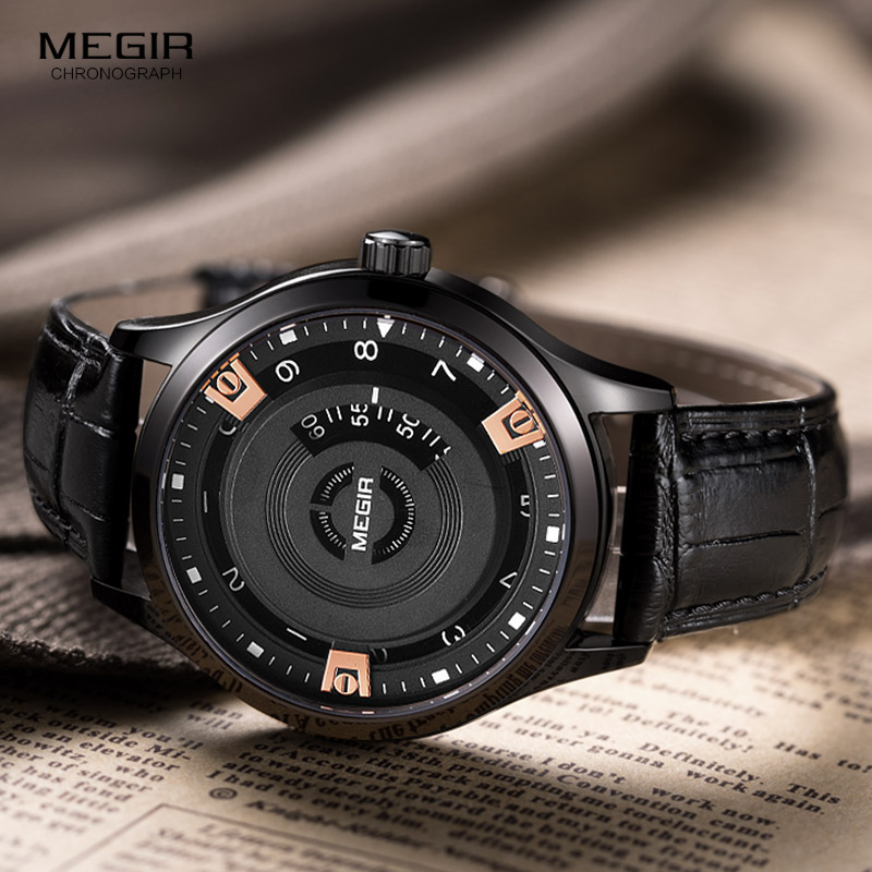 Megir Men's Top Brand Luxury Quartz Watches Men Sports Quartz-Watch Leather Strap Military Male Clock Relojes Hombre Gift 2017