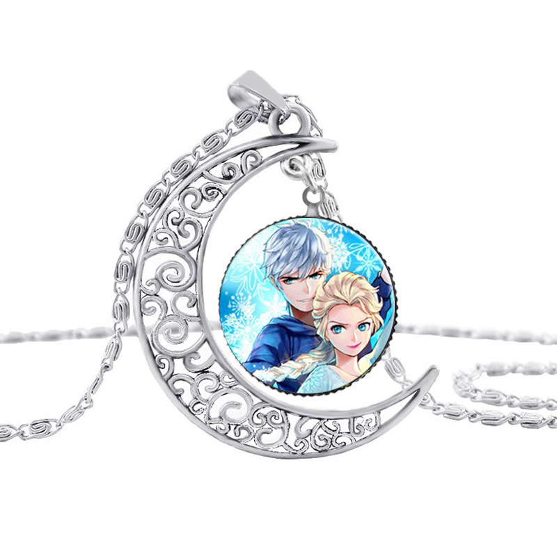 New Fashion Women Girl Long necklaces Jewelry Glass Cabochon Cartoon Character Pendant Long Pendants Necklace
