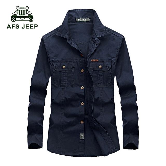 Afs jeep primavera otoño 6xl camisa de los hombres de buena calidad pura algodón Resistir el Desgaste Militar Camisa de Color Sólido flojo Ocasional de los hombres camisa