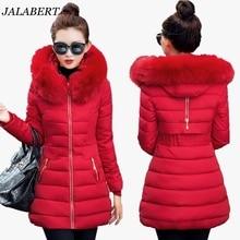 2016 new fashion women winter Slim long sections big Fur collar hooded jacket female thin zipper casual tide coat