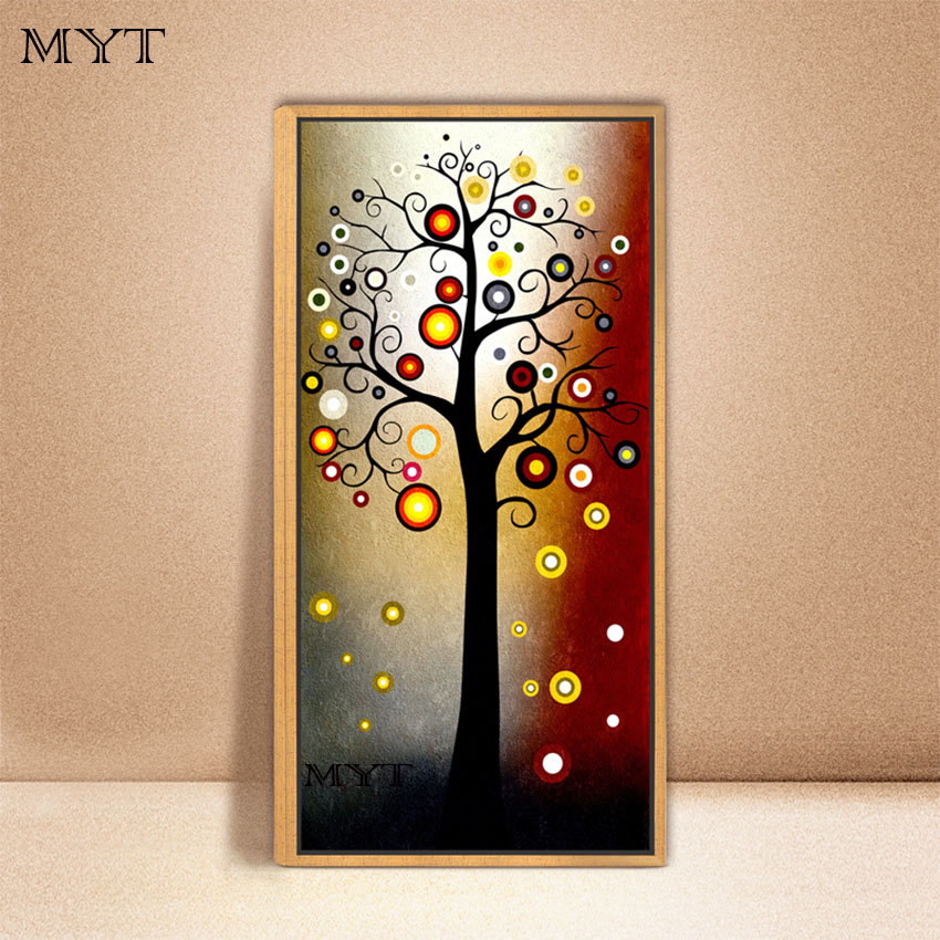 Hand painted modern abstract money tree canvas wall art for Home frames wall art