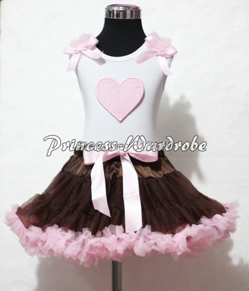 Valentine White Pettitop Top Pink Ruffle Bow Heart Print Brown Pink Pettiskirt Girl Set 1-8Y MAPSA0241 easter ruffle bow black top gold bling sequin baby girl pettiskirt outfit 1 8y mapsa0482
