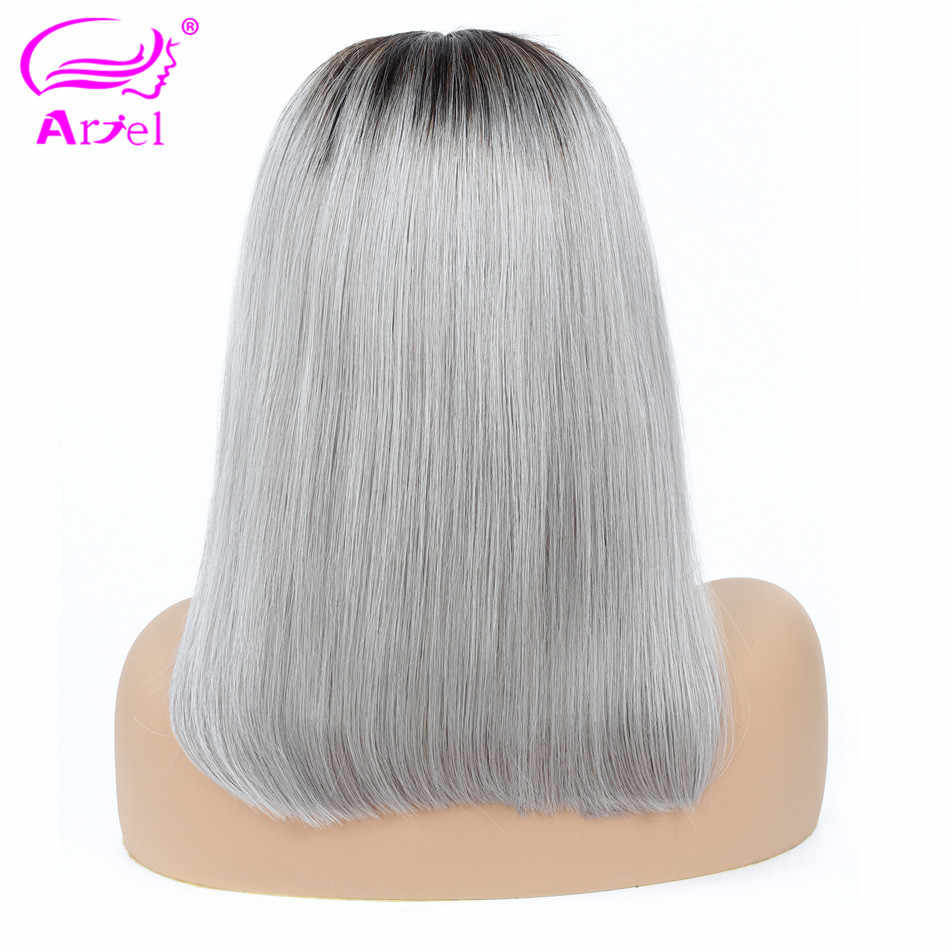Straight Blonde Lace Front Wig 13×4 Bob Lace Front Human Hair Wigs Brazilian Remy 1b 27 Blue Silver Gray Ombre 613 Lace Font Wig
