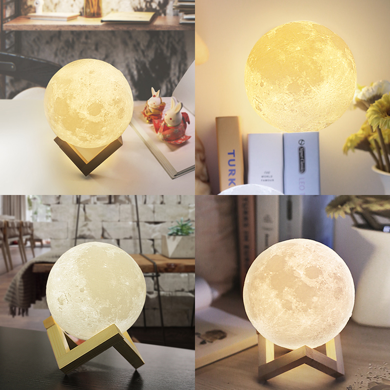 Dropship Christmas Moon Lamp 2 Color Change Touch Switch Bedroom Bookcase Night Light Home Decor Creative Gift magnetic floating levitation 3d print moon lamp led night light 2 color auto change moon light home decor creative birthday gift
