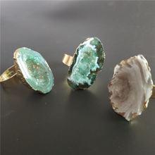 Кольцо с натуральным друзом для женщин ювелирные изделия Подарочные