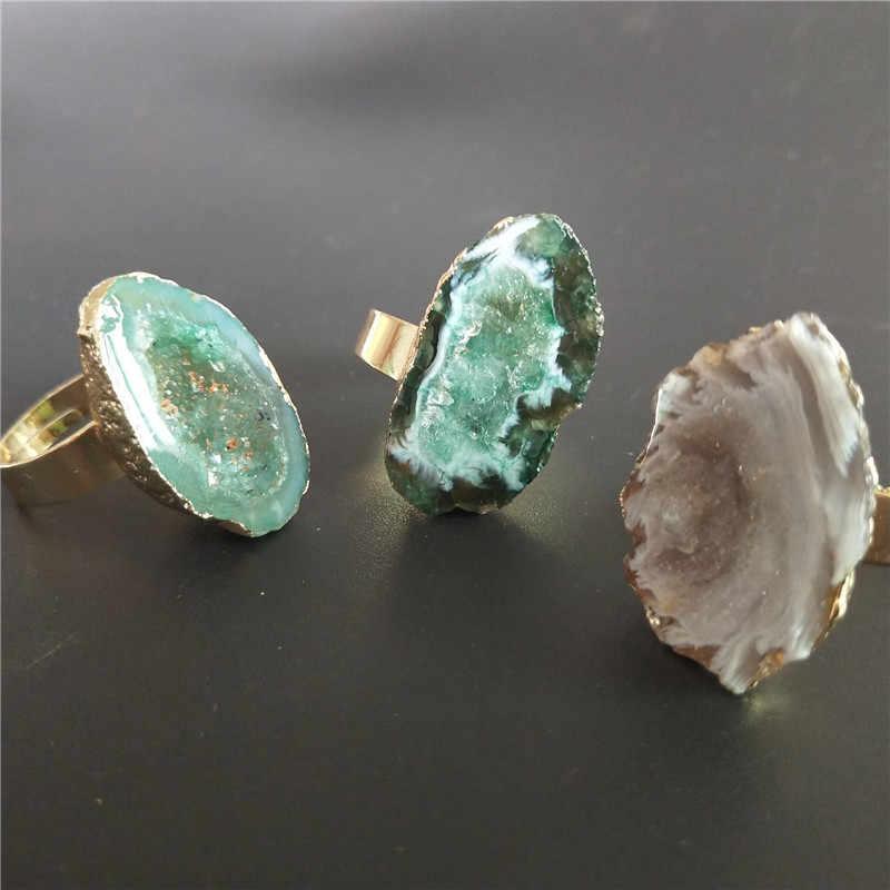 หินแหวนสำหรับเครื่องประดับสตรีเครื่องประดับ Drusy Druzy แหวนผู้หญิงหมั้นแหวน