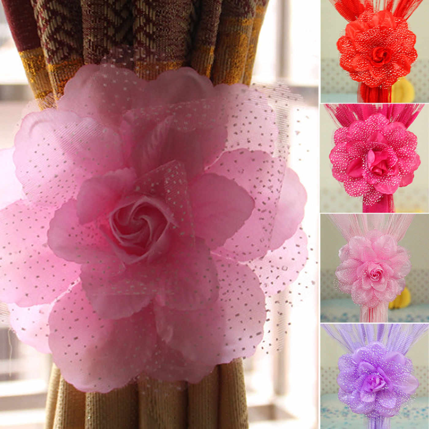 1PC Flowers Curtain Clip Best Peony Flower Curtain Clip-on Tie Backs Holdback Tieback Holder Panel For Living Room Bedroom 2018