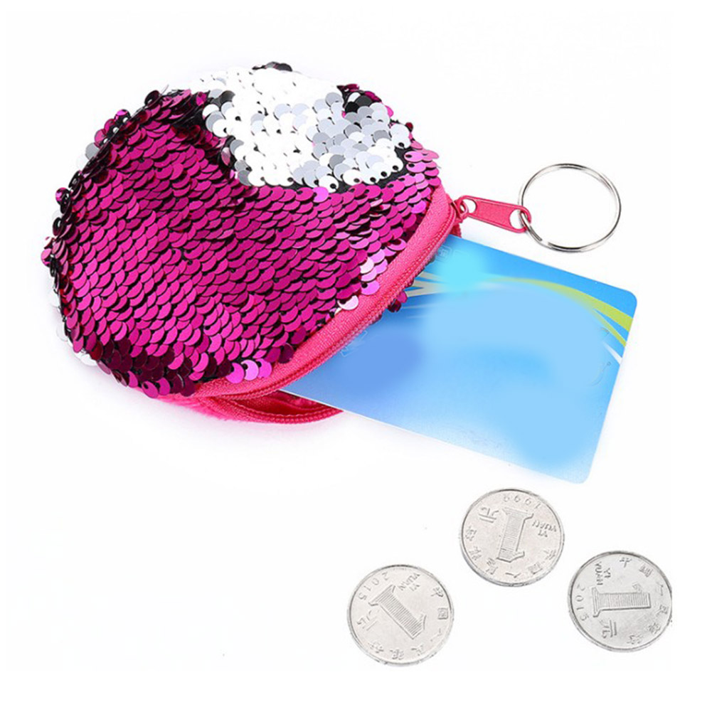 Women Coin Purse Sequines Pocket Change Wallet Girls Square Organizer Earphone Pouch Portable Cute Kids Zipper Purse Bags