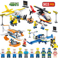 903pcs Technic Airport Aviation Compatible LegoINGLY City Aircraft Model Helicopter Trainer Building Blocks Sets Bricks Toys Boy