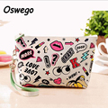 Creative Design PU Leather Waterproof Cosmetic  Zipper Bag Large Capacity Storage Pouch with Hand Strap Organizer Clutch Bag